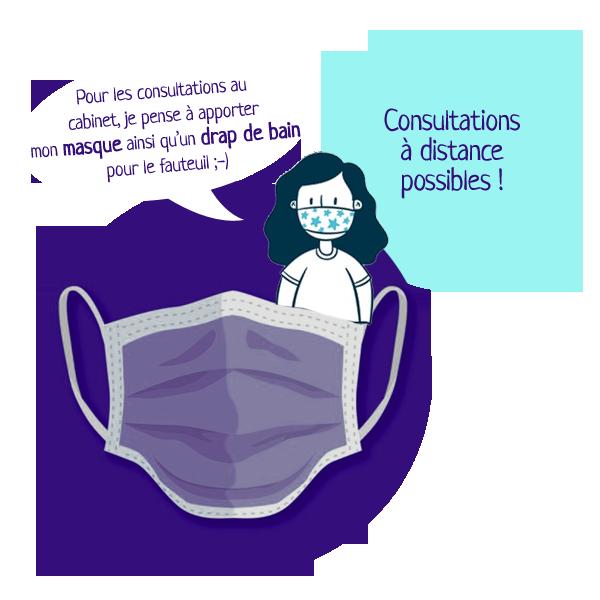 Mesures sanitaires, masque, covid-19, consultations à distance possibles par zoom ou skype